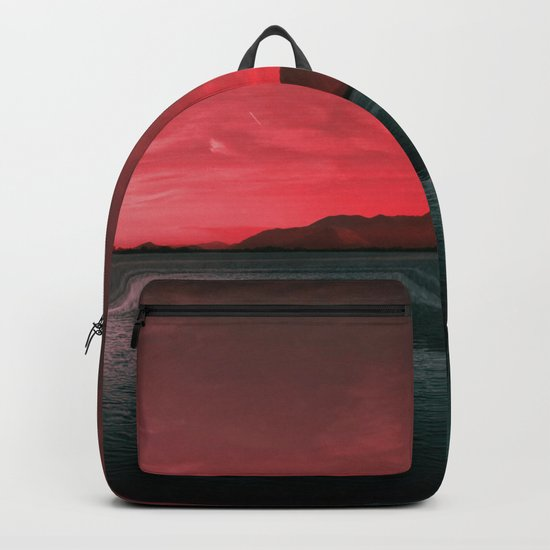 RED SKY OVER LAKE Backpack