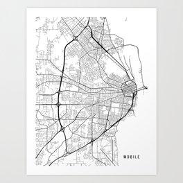 Mobile Map, Alabama USA - Black & White Portrait Art Print