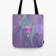 Heart Art- Abstract Art- Now or Later- Pink Heart- Purple Heart-Green-Pattern Art- Sacred Geometry Tote Bag