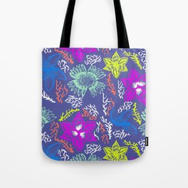 Electric Neon Floral Tote Bag