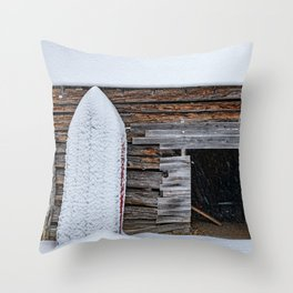 Winter Storage for a fishing boat near the barn in Hibernation Throw Pillow
