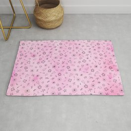 Pink girly watercolor pattern Hearts and Stars Rug
