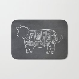 Beef Butcher Diagram (Cow Meat Chart) Bath Mat