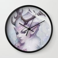 artgerm Wall Clocks featuring Reindeer Princess by Artgerm™