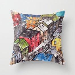 Reykjavik ink & watercolor illustration Throw Pillow