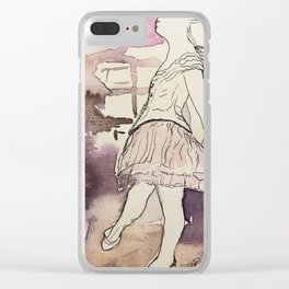 watercolor and ink sketch of Degas Little Dancer Clear iPhone Case