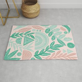 Blush Geometric Botanical Rug