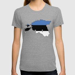 Estonia Map with Estonian Flag T-shirt