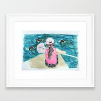 mermaids Framed Art Prints featuring Mermaids by Condor