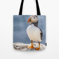 puffin Tote Bags featuring Puffin by Moonlake Designs