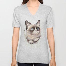 Grumpy Watercolor Cat Animals Meme Geek Art Unisex V-Neck