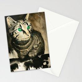 Green Eyes - Grey Tabby Stationery Cards