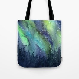 Galaxy Aurora Northern Lights Nebula Space Watercolor Tote Bag