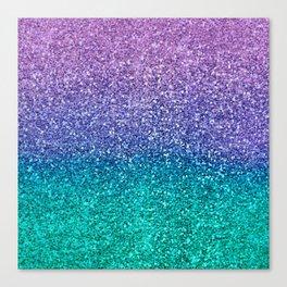 Lavender Purple & Teal Glitter Canvas Print