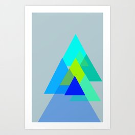 Triangles - blues color scheme Art Print