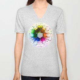 Abstract Color Wheel Unisex V-Neck