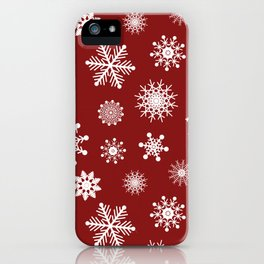 Snowflakes in Red iPhone Case