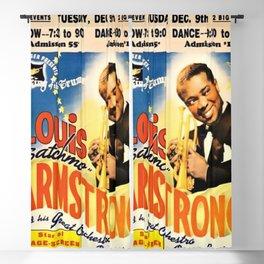Louis Armstrong Parker Auditorium, Minot, North Dakota Satchmo Jazz Vintage Advertising Concert Poster Blackout Curtain