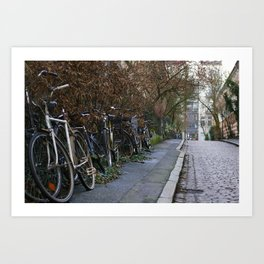Bicycles on a cobble stone road, Hamburg, Germany 2009 Art Print
