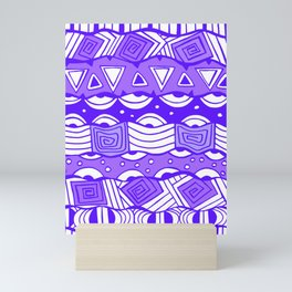 Purple Wavy Tribal Lines with Shapes - Doodle Drawing Mini Art Print