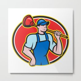 Plumber Holding Plunger Cartoon Metal Print