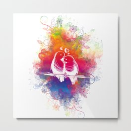 RAINBOW LOVE BIRDS Metal Print