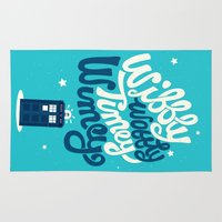 risa rodil Area & Throw Rugs featuring Wibbly Wobbly Timey Wimey by Risa Rodil