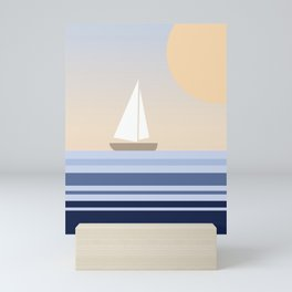Geometric sailing design Mini Art Print