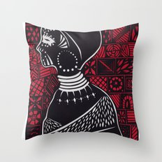 Tribal woman with traditional patterns Throw Pillow