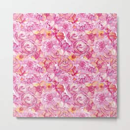 Rose pattern - Floral roses watercolor pattern Metal Print