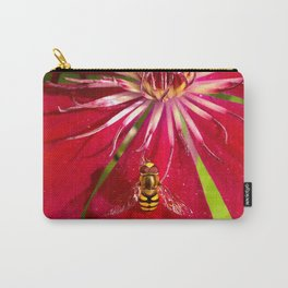 Flowers & bugs RED PASSION FLOWER & HOVERFLY Carry-All Pouch