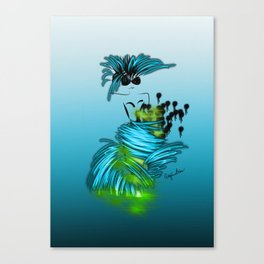 Fashion model dancing the night away in turquoise Canvas Print