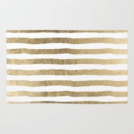 White faux gold elegant modern striped pattern Rug