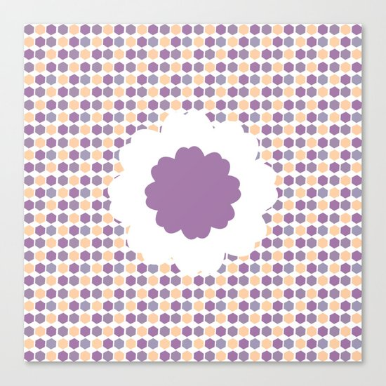Flower and purple hexagons Canvas Print