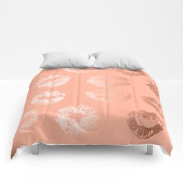 Sweet Life Lips Peach Coral Pink Shimmer Comforters