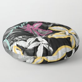 This Graffiti is 100% Organic - Tropical Foliage Modern Mixed Media Photography Illustration Floor Pillow