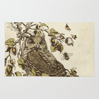 botanical Area & Throw Rugs featuring Great Horned Owl by Teagan White