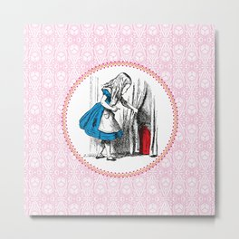 Alice in Wonderland | Alice, with Key in Hand, Pulls Back the Curtain to Find the Door to Wonderland Metal Print