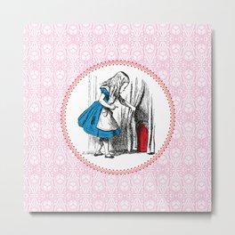 Alice in Wonderland | Alice finds Key and the Door to Wonderland | Pink Damask Pattern | Metal Print