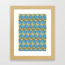 Blue Origami Dog Pattern  Framed Art Print