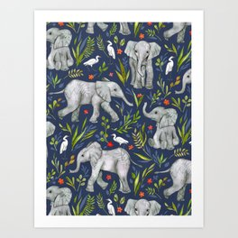 Baby Elephants and Egrets in Watercolor - navy blue Art Print