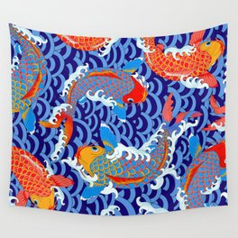 Koi fish / japanese tattoo style pattern Wall Tapestry