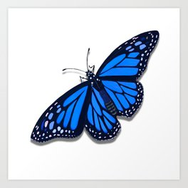 Blue Monarch Butterfly Art Print