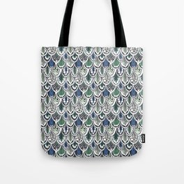 blue and green boho feather pattern Tote Bag