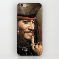 jack sparrow iPhone & iPod Skins featuring Jack Sparrow by Hernán Castellano