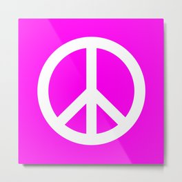 Peace (White & Magenta) Metal Print