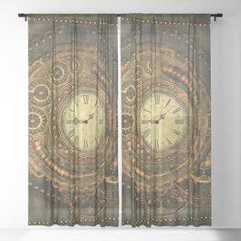 Noble steampunk clockwork Sheer Curtain