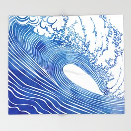 Blue Wave Throw Blanket
