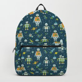 Robots in Space - Blue + Green Backpack