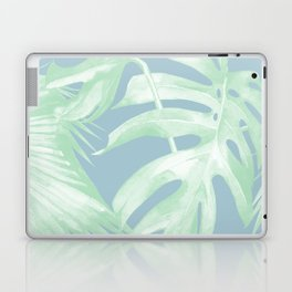 Tropical Leaves Luxe Pastel Sea Turquoise Blue Green Laptop & iPad Skin